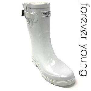 Women's Rubber Mid Calf Rain Boots, #1602, White